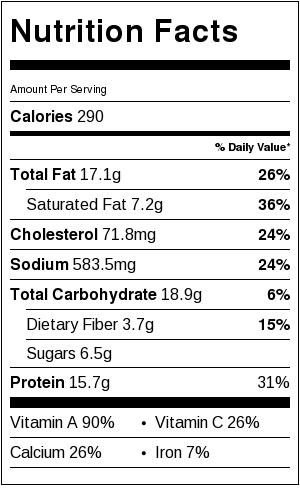 nutritional information for Max's Veggie Dish
