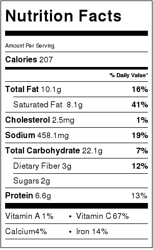 nutritional information for cauliflower potato soup