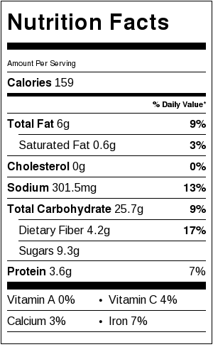 nutritional information for Tim's Porridge