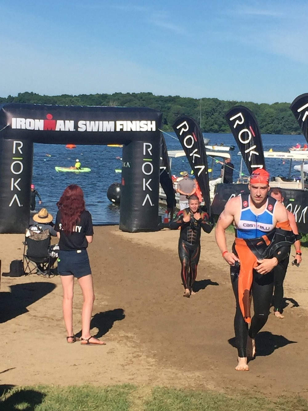 Jason competing in the swim portion of his first Iron Man competition