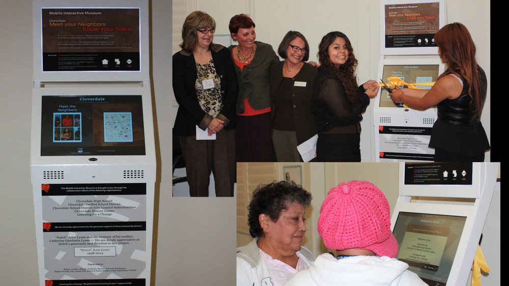 """Interactive Mobile History Museum - Two """"Mobile Interactive History Museums"""" from Listening for a Change will be in the lobby! These two touch-screen kiosks allow audience members to observe oral historical videos of Sonoma County residents telling their own stories as they recover from the fires, as they face discrimination, and as they fight to build lives and families.In our fast-paced society, we infrequently take the time to know and see the people in our community and workplaces, which often breeds suspicion, stereotyping, and other-izing. Listening for a Change uses oral history interviewing as a tool for community members to listen and more effectively engage others across ethnic, religious, sexual, class, generational, language, and geographic barriers. All video interviews can be viewed on the Listening for a Change website in the gallery."""