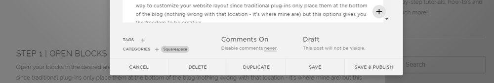 Categories and tags in Squarespace