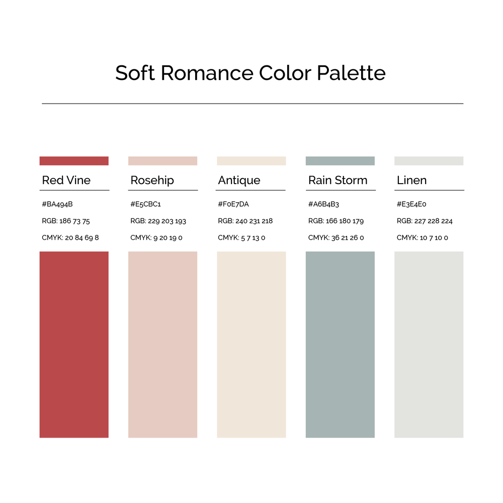 15 More Color Palettes | Soft Romance Color Palette