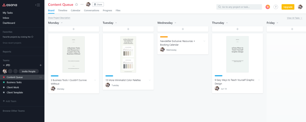 3 Business Tools I Couldn't Run My Business Without | Jordan Prindle Designs Asana dashboard
