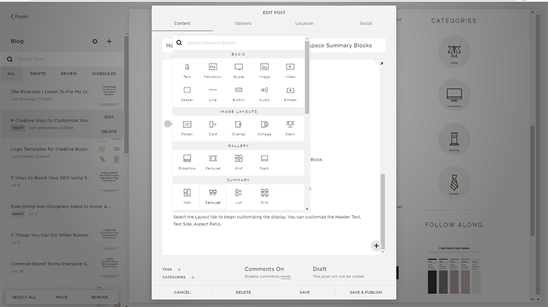Start Blogging with Squarespace | Add Summary Blocks in Squarespace with Jordan Prindle Designs