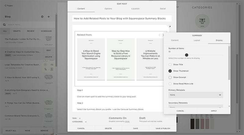 Start Blogging With Squarespace | Summary Blocks Display Settings with Jordan Prindle Designs