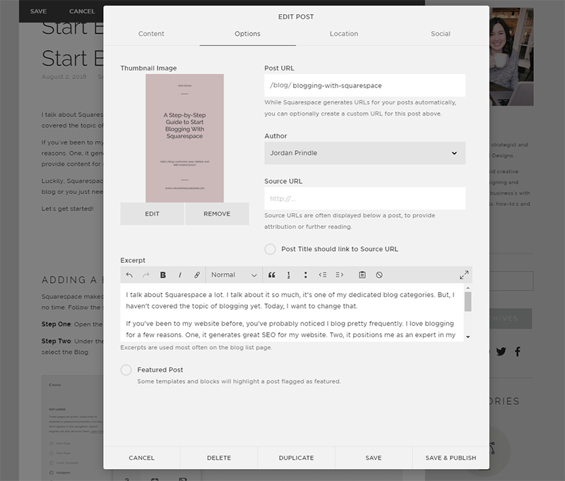 Start Blogging With Squarespace | Blog Options Settings in Squarespace with Jordan Prindle Designs