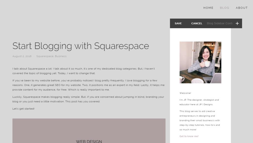 Start Blogging with Squarespace | Blog Sidebar in Squarespace with Jordan Prindle Designs