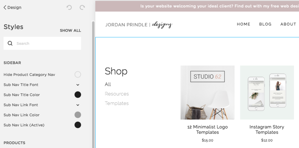 Open a Shop with Squarespace | Brand Your Squarespace Shop with Jordan Prindle Designs