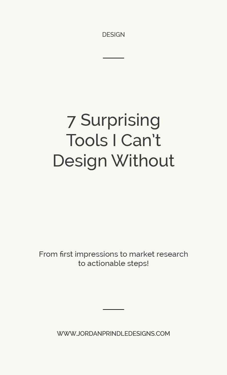 7 Tools I Can't Design Without | I'm sharing a few of the suprising resources and tools I use every single time I create a custom design. From Pandora to Adobe Software to everything in between. Read the full list at www.jordanprindledesigns.com