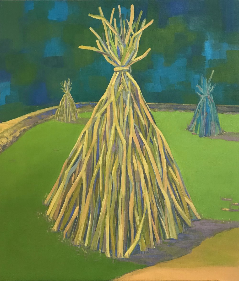 Teepees, Oil on Canvas 30 inches x 26 inches 2018