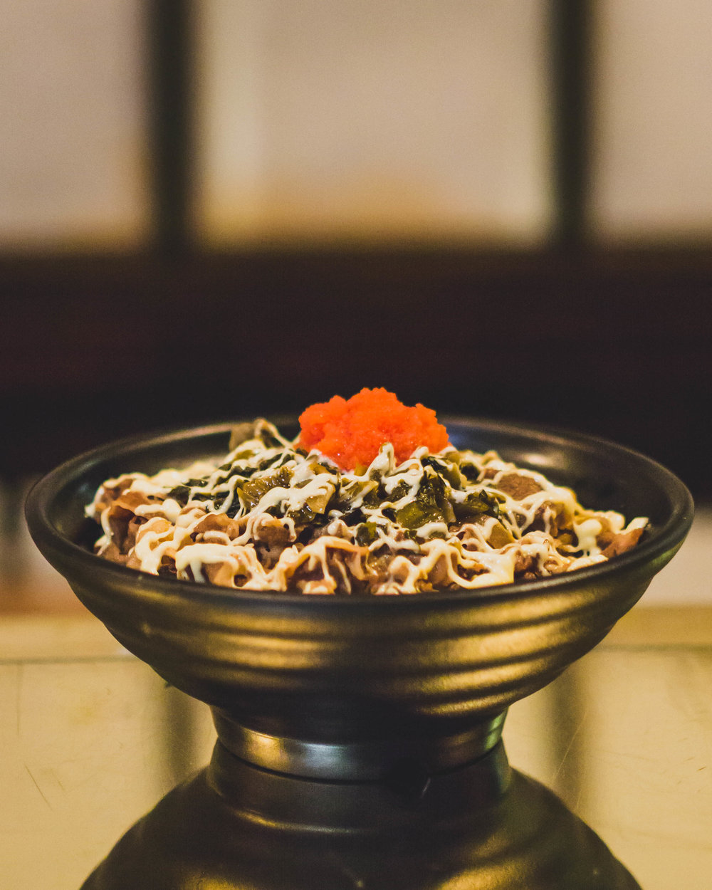 GYU-DON - Sliced marinated beef & onion, mentaiko (seasoned cod roe), spicy takana (Pickled Japanese mustard leaf) w/ mayonnaise on top of rice in the bowl