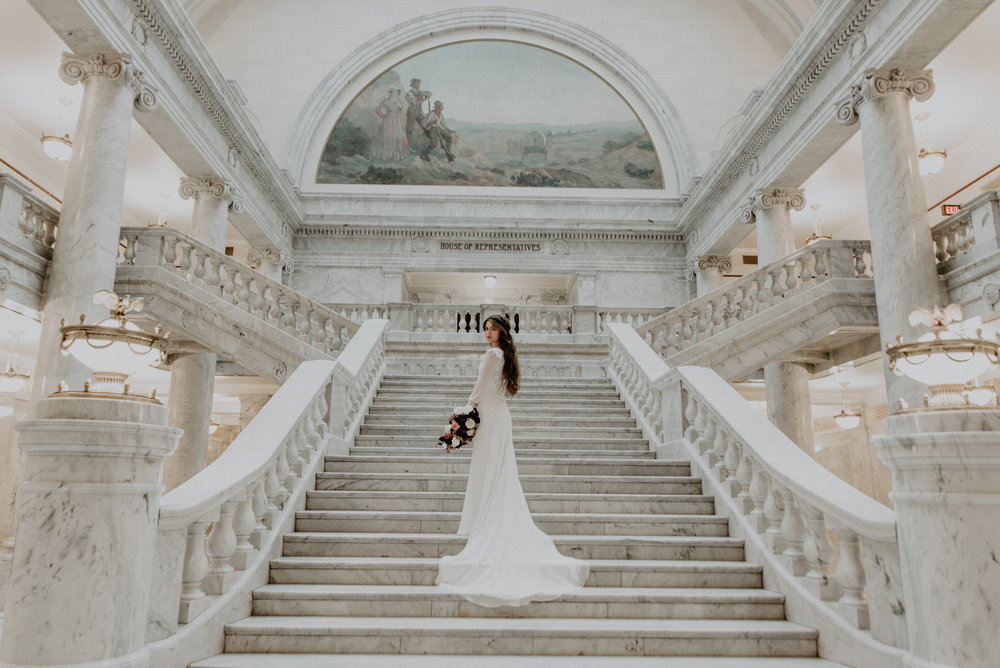 Utah State Captiol Bridal Photo