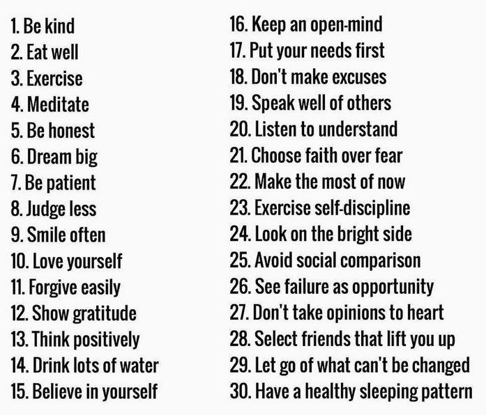 30 healthy habits