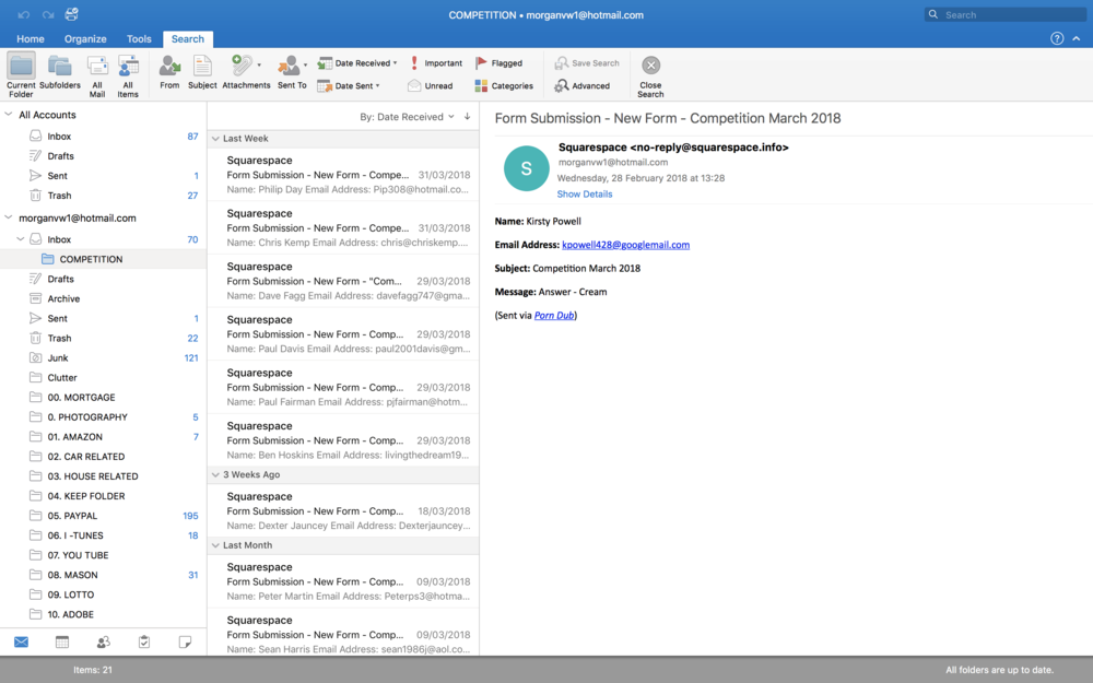 A screen shot of my outlook and where all the email entries went into. 33 Entries, 2 were wrong and 31 put into the random name genorator.