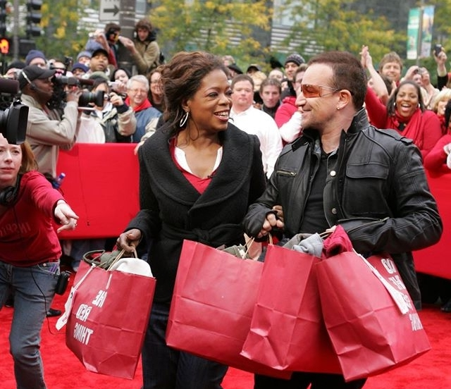 2006: (RED) RESPONDS - Bono and Bobby Shriver founded (RED) to engage millions of people in the greatest fight of our time: to end AIDS in Africa, where two thirds of the estimated 37 million people with HIV/AIDS live. We began working with the world's most iconic brands and organizations to develop (RED)-branded products, with up to 100% of all money contributed by (RED) partners going directly to the Global Fund. These contributions are invested in HIV/AIDS programs in Africa, with an emphasis on countries with high rates of mother-to-child transmission.