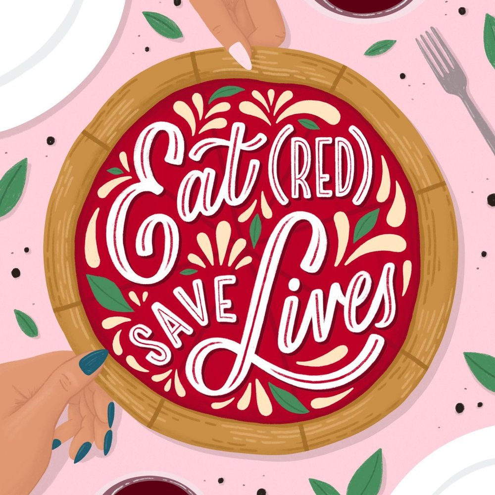 Lauren's original artwork created to support EAT (RED) SAVE LIVES 2018