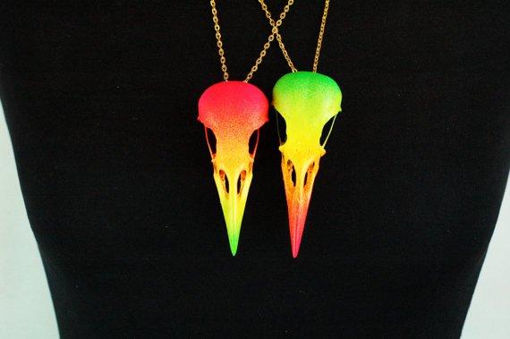 Neon Crow Skull Necklace.jpg