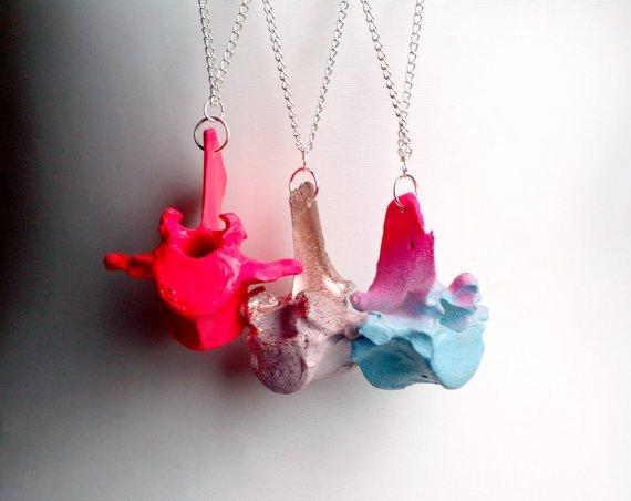 Painted Sheep Vertebrae Drop Necklace.jpg