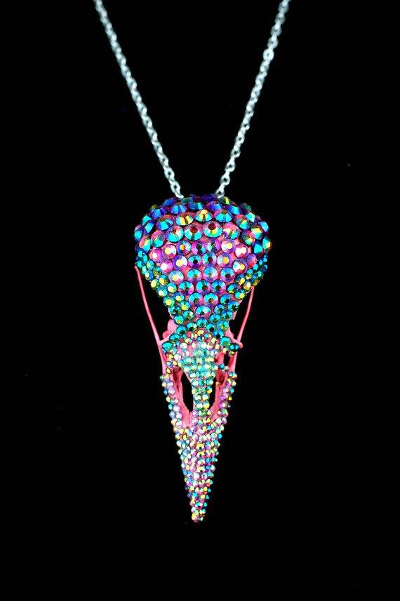 Pink Rhinestone Crow Skull Necklace.jpg