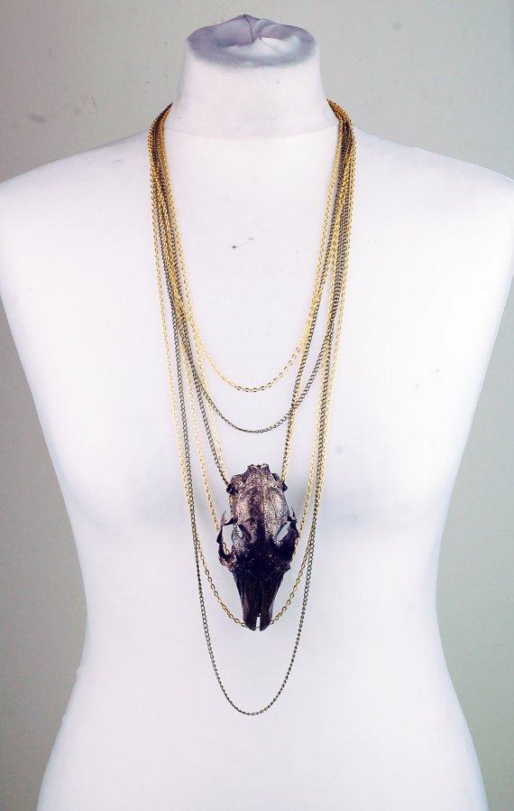 Black and Gold Splatter Hare Skull Necklace.jpg