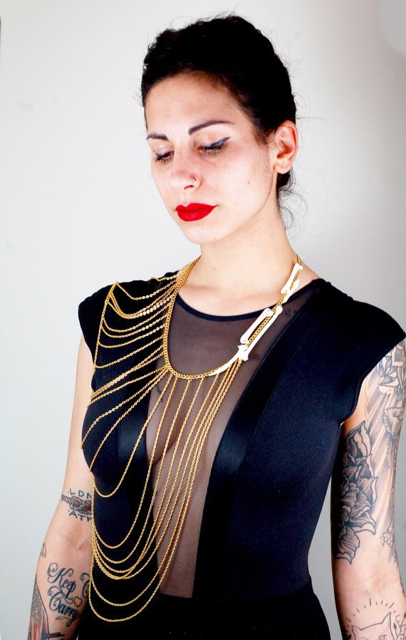 Crow Bones Gold Chainmaille Body Chain.jpg