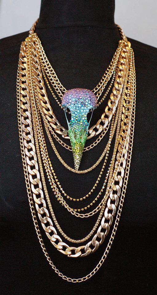 Pastel Rhinestone Crow Skull layered Rose Gold Statement Necklace.jpg