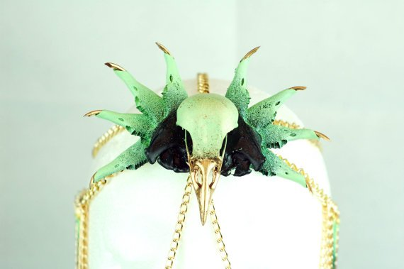 Rabbit Mandible and Magpie Skull Head Chain.jpg