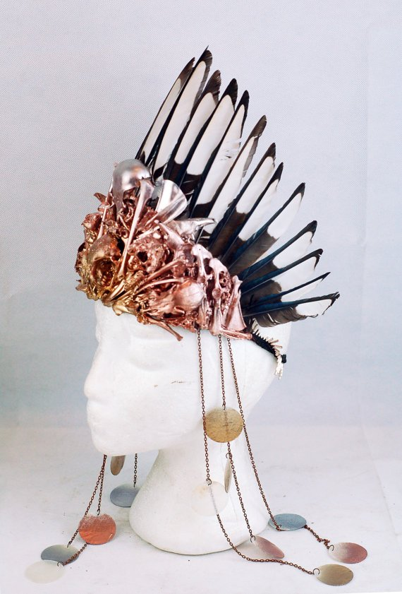 Metallic Bone Decoupage Headdress with Magpie Feathers and Mother of Pearl Discs.jpg
