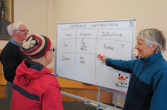 English for Elders tutor Jane Pheasant (right) reviews sentence construction with Kate Wong and coordinator David Reid. Photo: Daily Encourager.  https://dailyencourager.co.nz/