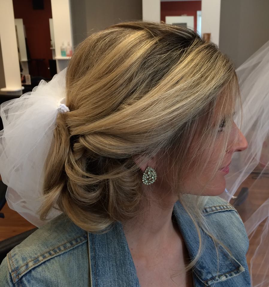 - The lovely bride, Julie at her pre-bridal appointment! It's hard to imagine, but she looked even more glamorous on her wedding day! Congratulations!