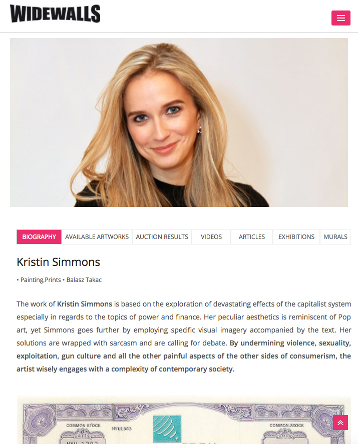 - The work of Kristin Simmons is based on the exploration of devastating effects of the capitalist system especially in regards to the topics of power and finance.