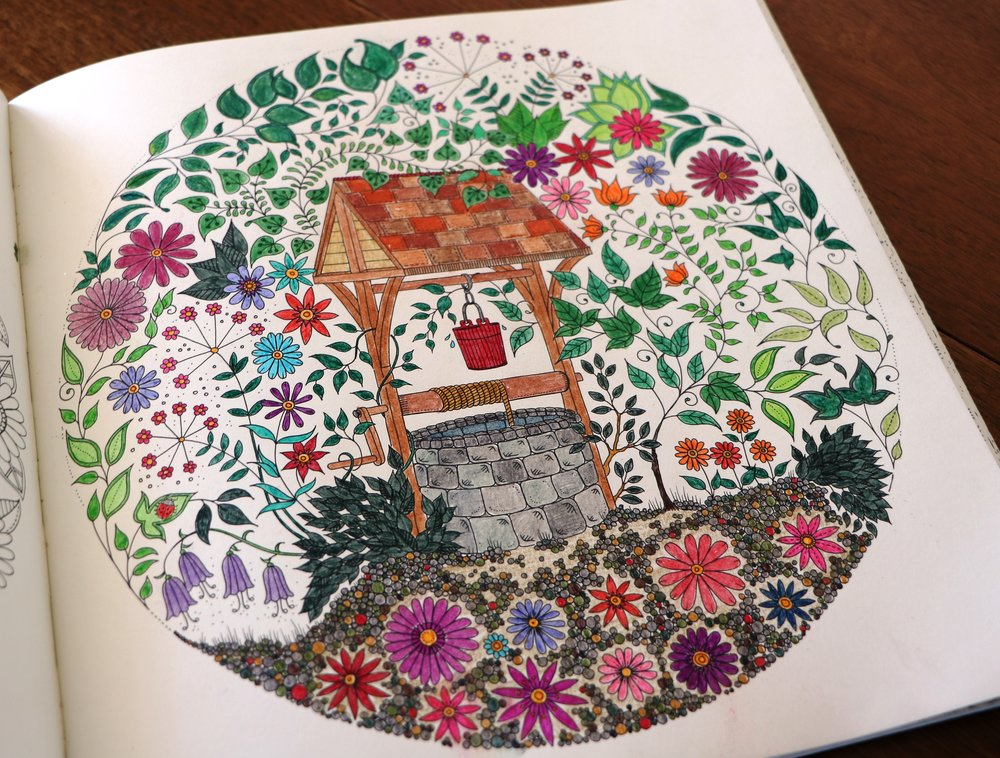 My version of Johanna Basford's Secret Garden adult coloring book.