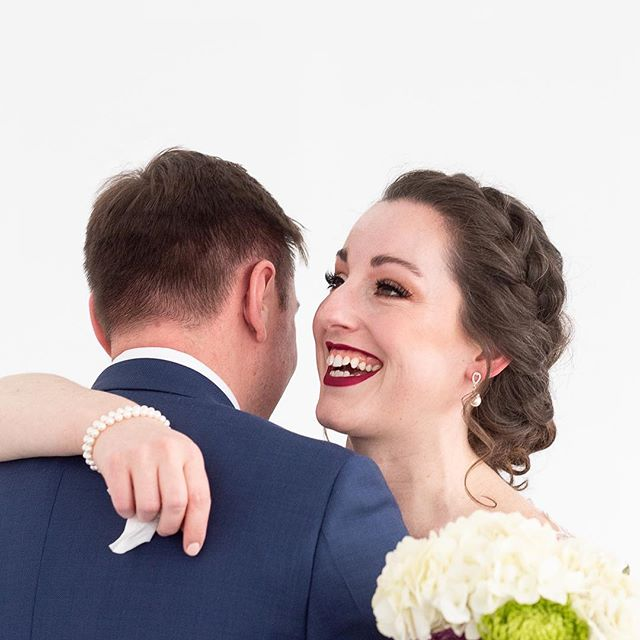 I just love first looks, don't you guys? They allow the couple to have a sweet, private moment before the busy day starts.  Side note: I think I'll be *almost* this happy when the busy week before Christmas is over 😉 • • • • #hairfashionandbridal #behindthechair #bride #updo #wedding #firstlook #happy #christmas