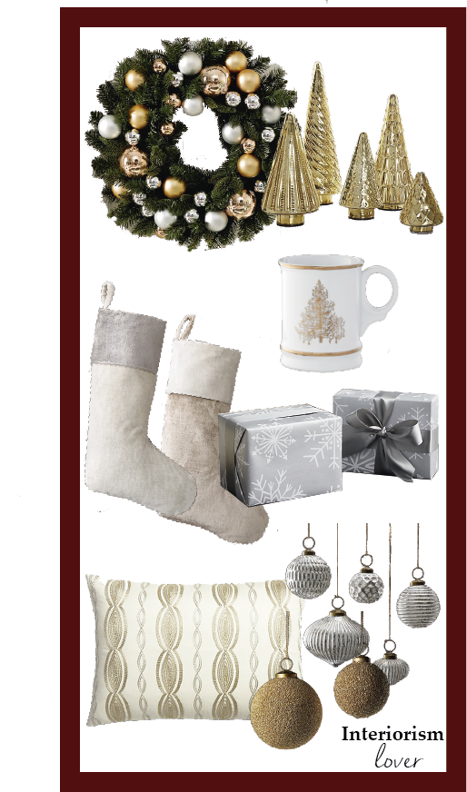 Elegant Christmas accessories in golden and silver