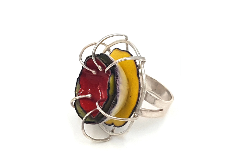 """Giant Receiving Ring"" An outstanding party ring! Enamel prong set into sterling silver. Size 7.5 $275"