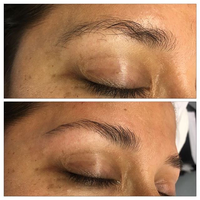 I love how a wax and trim can make an eyebrow appear more full than it did before. 😍 My sweet client from yesterday with no makeup. ⚡️