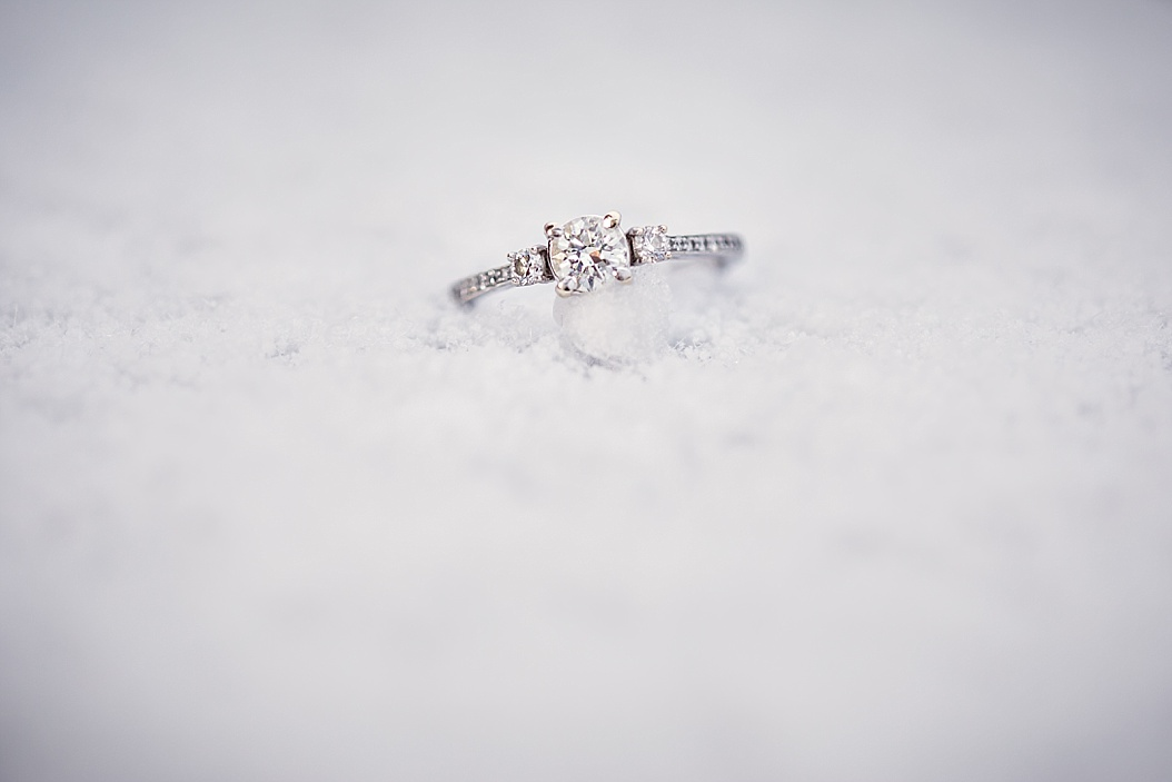 engagement ring in the snow