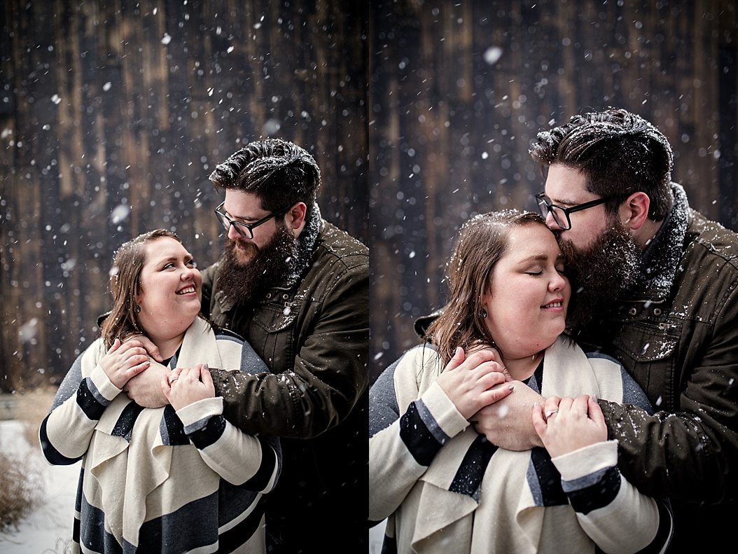 snowy in love couple