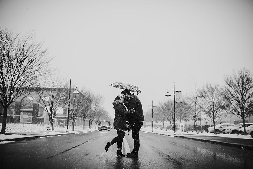 snowy street engagement