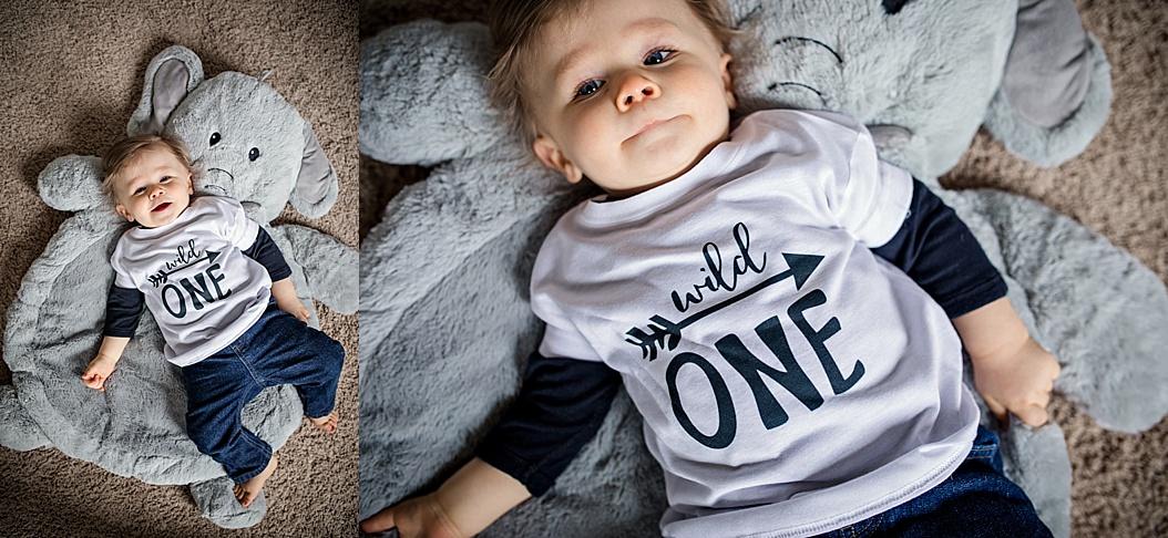 baby wearing wild one t-shirt