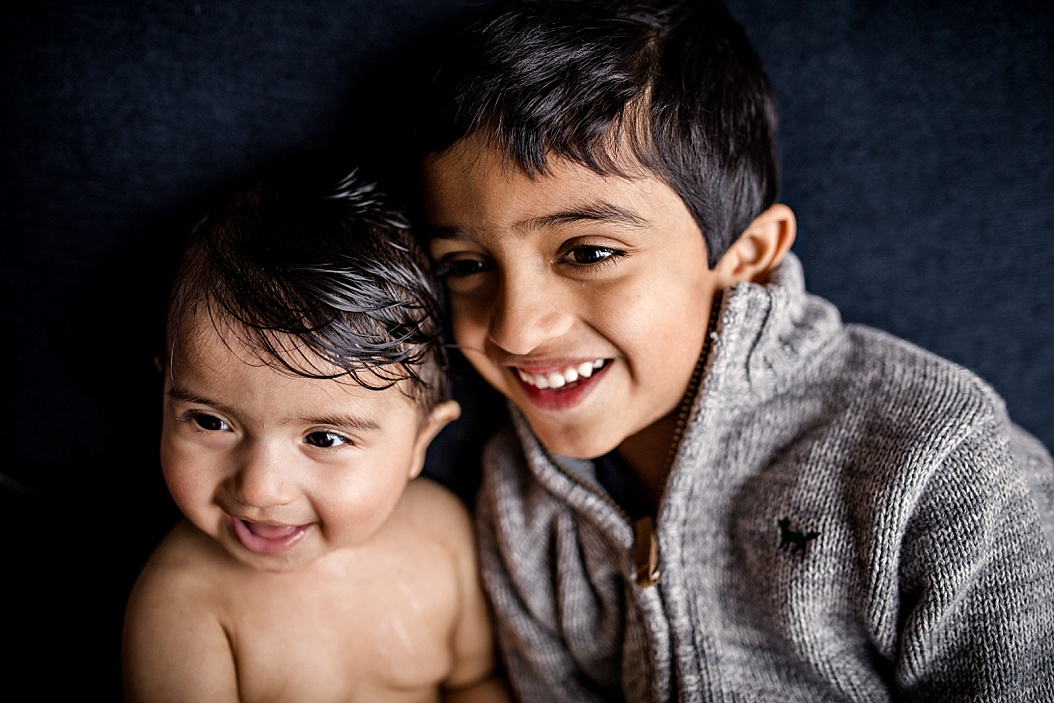 portrait of brother and sister smiling