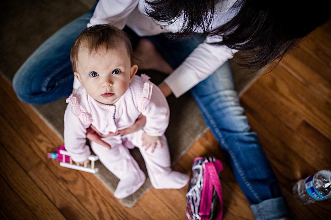 baby looking up at camera