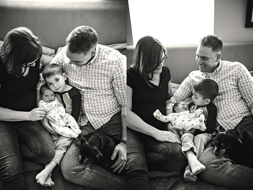 black and white pictures of family of four in bed