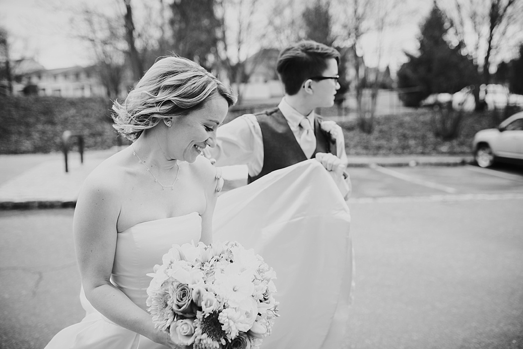 black and white candid of bride