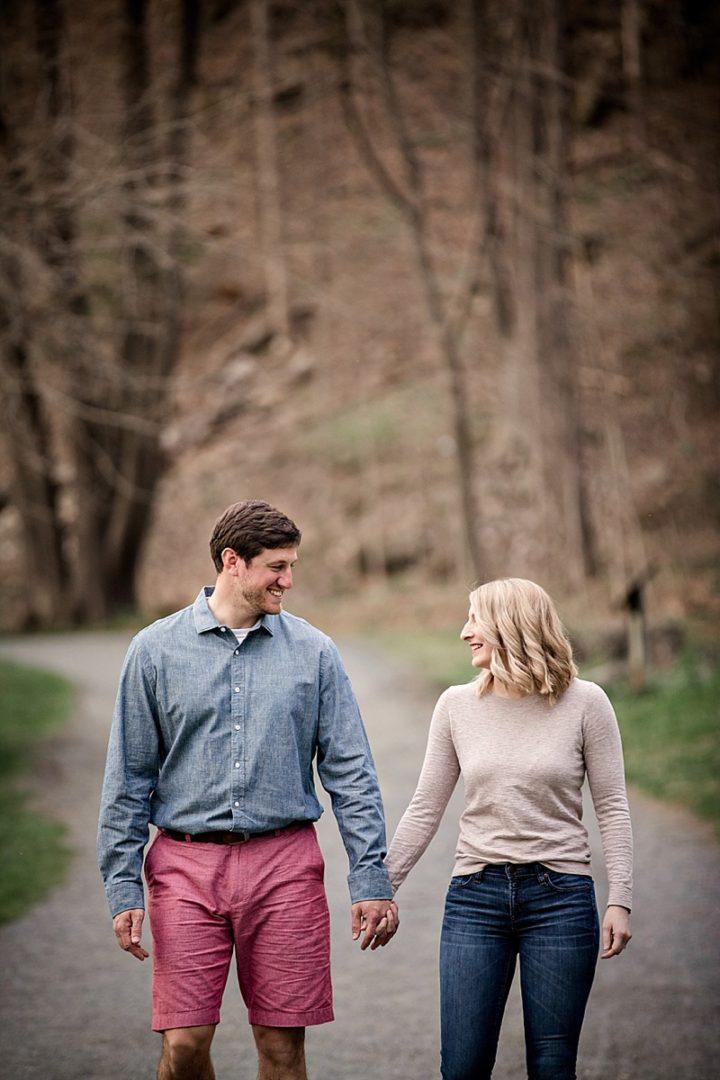 candid shot of couple walking