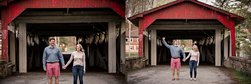 engagement session at covered bridge