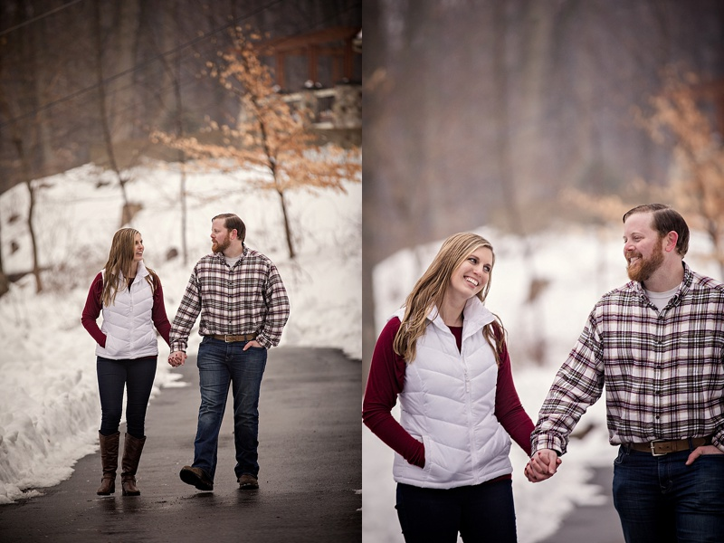 couple walking and laughing in pictures