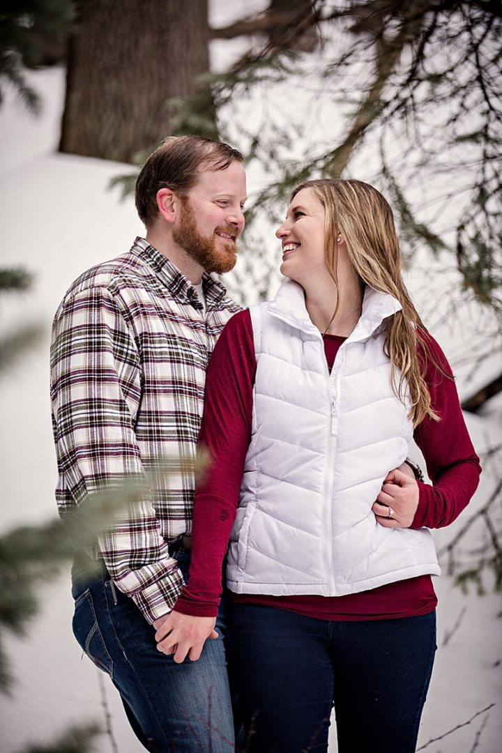 engagement session in woods