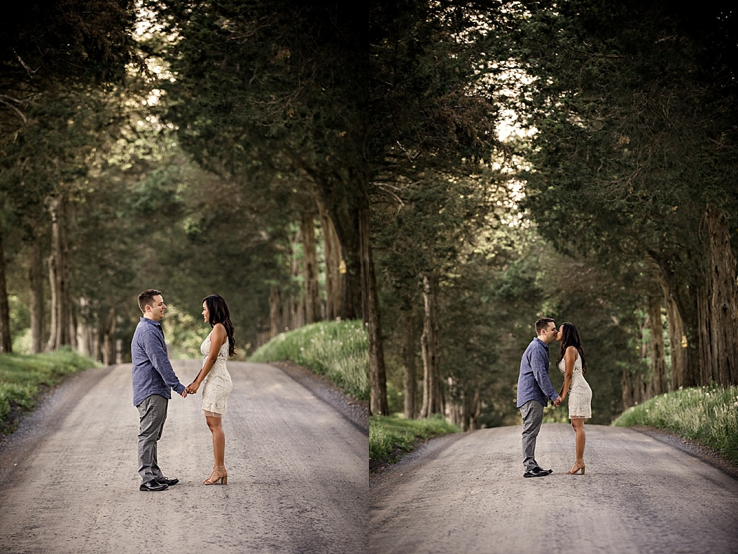 couple kissing in tree lined drive